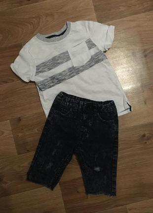 Набор джинсовые шорты river island на 3-4 г+ футболка cool club