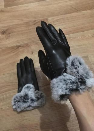 Новые красивые тёплые кожаные перчатки с опушкой на меху