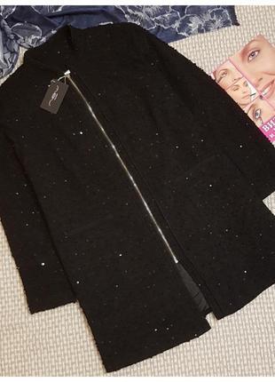 Жакет-пальто в паетках на молнии new look