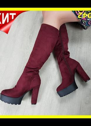 Женские сапоги на каблуке замшевые