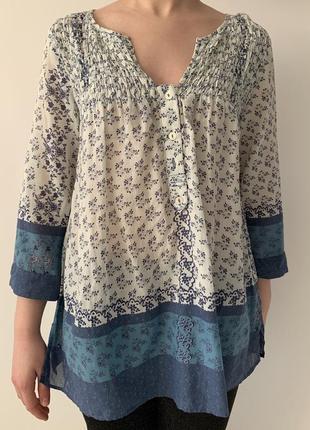 Блузка легка, літня, блуза с принтом, біла з голубим блуза, ле...
