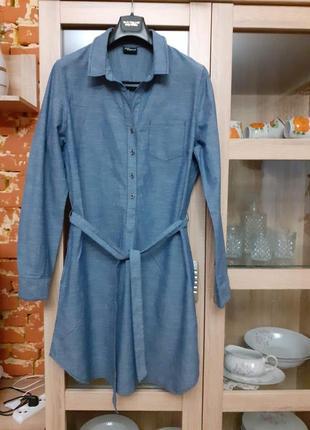 Крутое котоновое с карманами и поясом платье рубашка большого ...