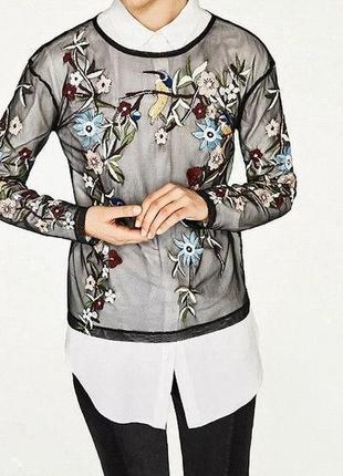 Прозрачная блуза-сетка с вышивкой
