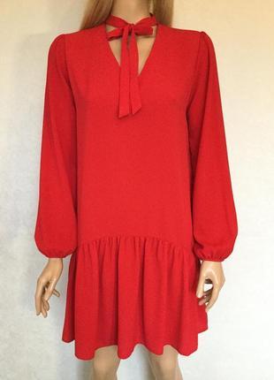Красное платье с воланом и чокером atmosphere размер 10/12