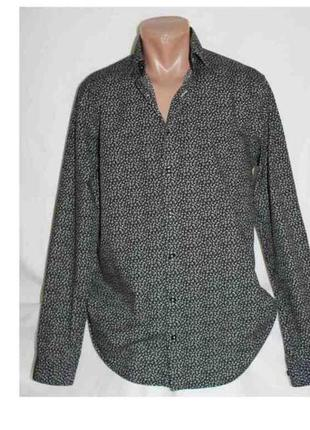 Модная рубашка коттон чёрный белые цветочки, dressmann м