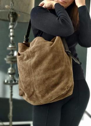 I am esprit! большая сумка из натурального замша.