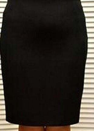 Классическая черная юбка миди карандаш  трикотаж батал