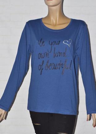 Женская синяя кофта с надписью, длинный рукав