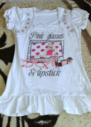 Туника платье для девочки белое с принтом Турция
