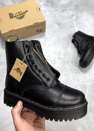 Зимние женские dr martens jadon 2 black кожанные чёрные ботинк...
