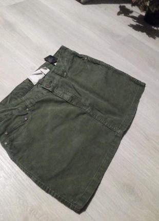 Брендовая юбка микровильвет h&m