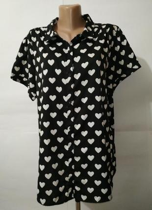 Блуза красивая легкая в сердечки большой размер uk 20/48/3xl