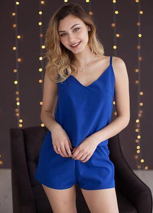 Пижама женская майка и шорты синий