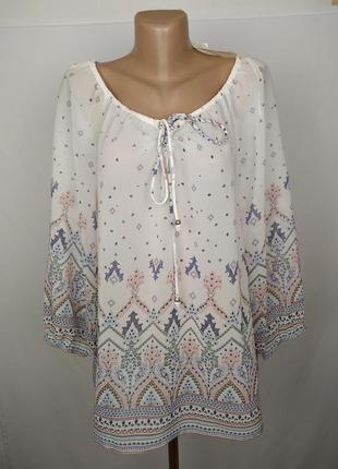Блуза новая легкая стильная в орнамент peacocks uk 14/42/l