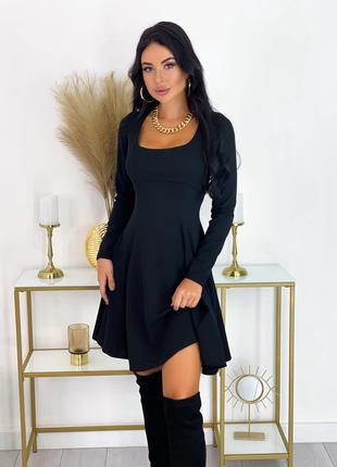 Нарядное Черное Платье миди с длинными рукавами