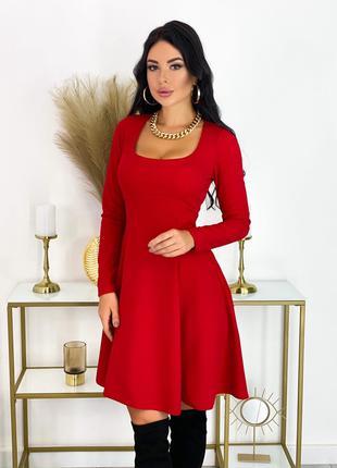 Нарядное Красное Платье миди с длинными рукавами