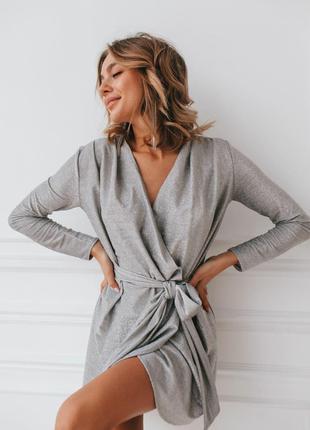 Нарядное Платье с длинными рукавами из люрекса серебро