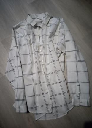 Брендовая рубашка оверсайз h&m 100% котон