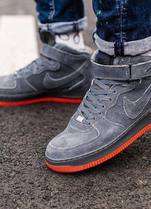 ✳️nike air force grey✳️зимние замшевые мужские серые кроссовки...