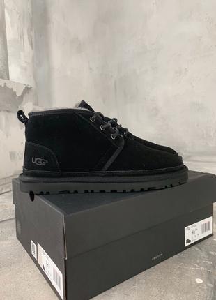 Мужские зимние ботинки UGG Black черные, натуральный замш, овчина