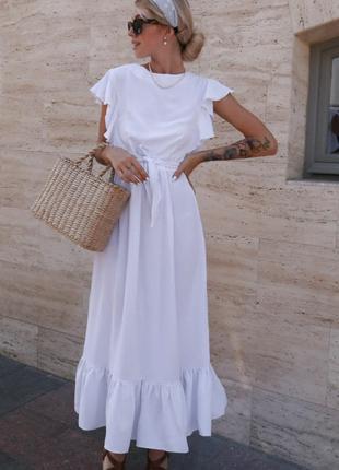 Легкое Длинное платье белое