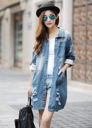 Длинный джинсовый  пиджак куртка удлиненная