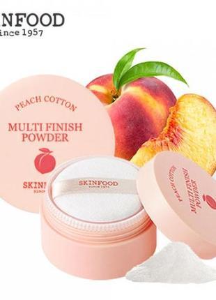 Рассыпчатая пудра skinfood peach cotton multi finish powder 15g