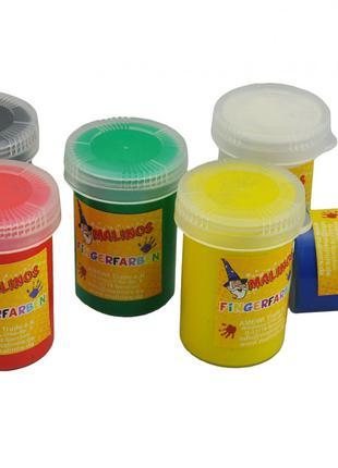 Пальчиковые краски безопасные непроливаемые 6 цветов MALINOS F...