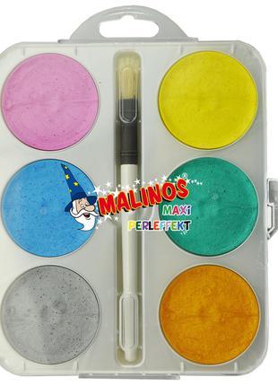 Краски акварельные с перламутровым эффектом 6 цветов с кисточк...
