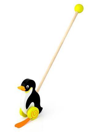 Детская игрушка каталка деревянная на палочке с шаром на конце...