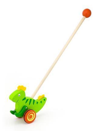 Детская игрушка каталка деревянная с ручкой и шаром на конце д...