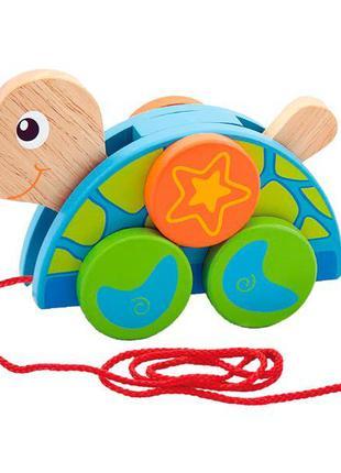 Игрушка детская Каталка деревянная на шнурке для малышей Viga ...