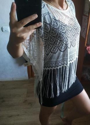 Накидка футболка кружевная