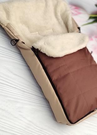 Зимний детский конверт для санок и коляски овчина, водоотталки...
