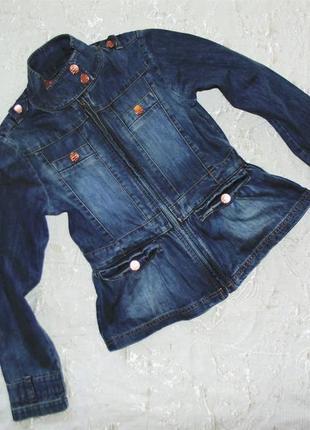 Джинсовый пиджак с баской на молнии