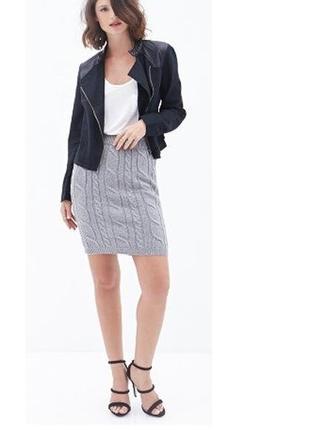 Мини-юбка фактурной вязки теплая