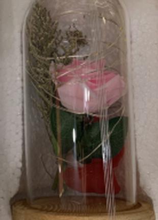 Роза в колбе с LED подсветкой РОЗОВАЯ 8Х17