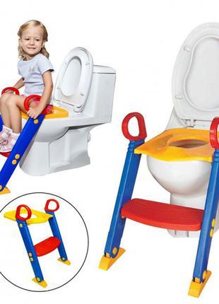 Детское сиденье на унитаз со ступенькой и ручками Child Toilet...