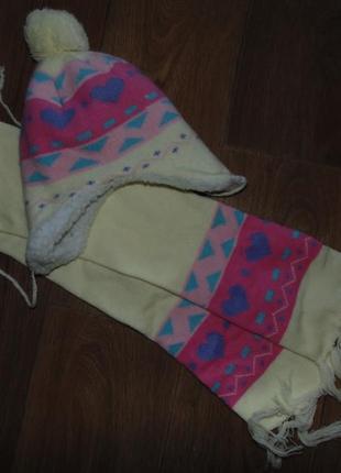 Набор зимняя шапка на овчине и шарф 3-6л