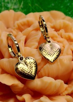 Серьги-висюльки  - сердечки с орнаментом