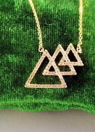 Кулон на цепочке - треугольники