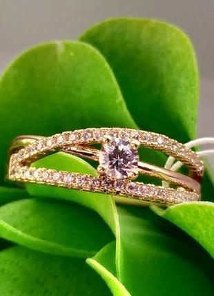 Кольцо xuping - скрещенные линии с камнем