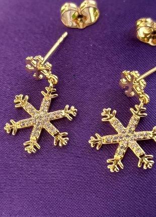 Серьги-гвоздики - снежинки