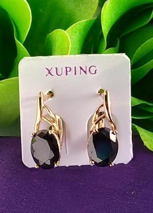 Серьги xuping с черным кристаллом