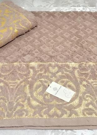 Полотенце для лица махровое - золотой вензель