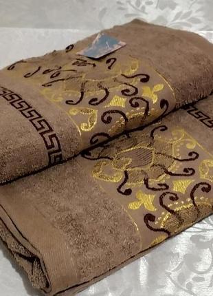 Полотенце банное махровое - золотой вензель