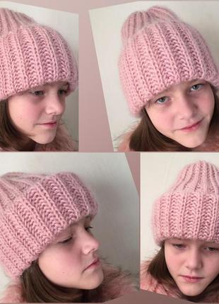 Шапка такори розовая пудра