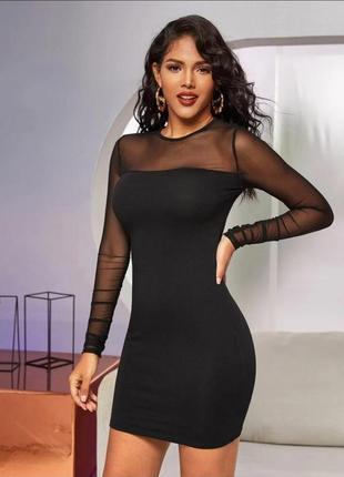 Платье-футляр с рукавами сеточкой