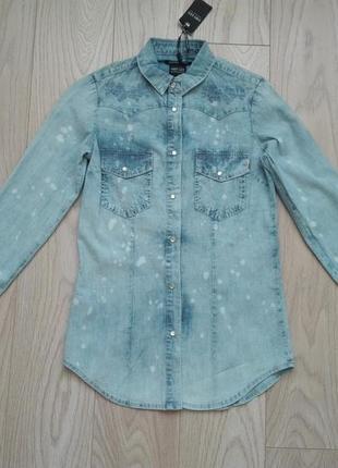 Голубая джинсовая рубашка с длинным рукавом, s/m