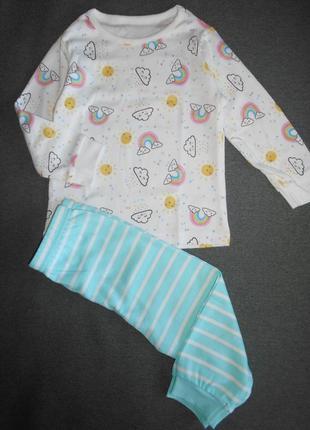 Пижама с радугой george 9-12, 12-18 мес
